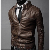 MMIOT Men's Slim PU Leather Jacket