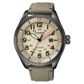 Citizen AW5005-12X Eco-Drive Men Beige Dial Green Olive Nylon Strap [AW5005-12X]