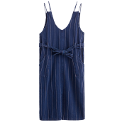 INMAN G1881553371 Dress  2018 New Products Women Spring Clothes Striped Denim Overall Dress V Neck Sleeveless Dress