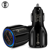 WH QC Quick Charge 3.0 Dual Car Charger Adapter Auto Mobile Phone Charger for Xiaomi Samsung iPhone X 8 7 5 6 Fast Phone Charger