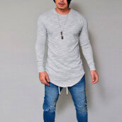 Men Solid Color Slim Long Sleeve Shirt Casual O Neck Daily Wear T-Shirt Tops White