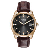 Citizen AU1043-00E Eco-Drive Black Dial Brown Leather Strap Men Watch [AU1043-00E]