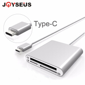 JOYSEUS Type-C Multifunctional Card Reader Type-C To CF/SD/TF/Micro Smart Memory Card Reader Flash Drive for PC Laptop Macbook Silver