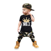 BESSKY Toddler Kids Baby Boy Letter T shirt Tops+Camouflage Shorts Outfits Clothes Set_