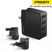 Pisen Power Combo Port 4 Charger Travel EU UK Plug Smart Fast Charge 2.4 A