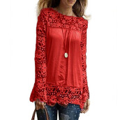 Fashionmall Womens Lace Shoulder Long Sleeve Blouse Tops