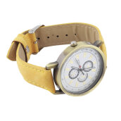 [LESHP]New Women Golden Round Shell Quality Quartz Watch Denim Watchband Casual Yellow