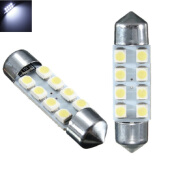 JMS - 1 Pair (2 Pcs) Lampu LED Mobil Kabin / Plafon / Festoon / Double Wedge 8 SMD 1210 36mm - White