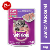 WHISKAS Pouch Junior 85gr Makanan Kucing Basah Rasa Mackerel [Isi 12 Pack]