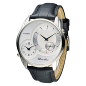 Citizen AO3009-04A Dual Time Men White Dial Black Leather Strap [AO3009-04A]