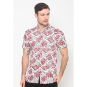 FBW Clifton Short Sleeves Print Shirt Daon - Putih Merah