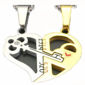 SESIBI 1Pair Heart and Keys Pendant Necklace Lovers Romantic Chain Titanium Steel Choker One Size -