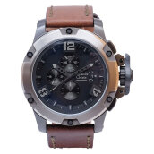 Alexandre Christie AC 6295 MC LEPBA Man Sport Black Dial Brown Leather Strap [ACF-6295-MCLEPBA]