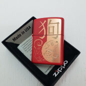 ZIPPO 29522 Year of Dog Laser engrave red Matte Finish