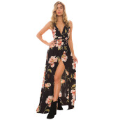 Jantens Summer long dress women's floral dress V-neck sleeveless