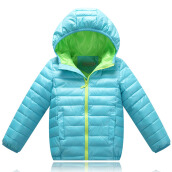 Anamode Boys Girls Winter Coat Duck Down Jacket Children Feather Coat With Hooded -Light Blue