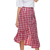 Jantens Plaid long skirt women red white plaid empire dress ruffled female spring and summer high waist cotton