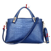 [LESHP]Bag Three Piece Shoulder bag Hand For Crocodile Style Four Color To Choose Blue