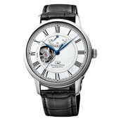 Orient Star Semi Skeleton Mechanical Self-Winding RE-HH0001S Men White Dial Black Leather Strap [RE-HH0001S]