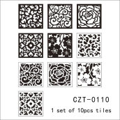 Mediterranean Vintage Pattern Self Adhesive PVC Tile Stickers Black 10PCS/Bag