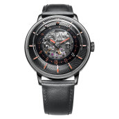FIYTA Men 3D Time Automatic Black Leather + Nato Strap WGA868001.BBB [WGA868001.BBB]