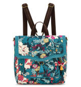Sakroots Convertible Backpack Teal Flower Power