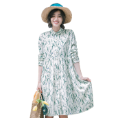INMAN 1871104261 Dress Women's Spring Long Sleeves Contrast Color Printing Shirt Dress
