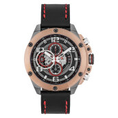 Expedition E 6752 MC LGRBA Man Chronograph Black Dial Black Leather Strap [EXF-6752-MCLGRBA]