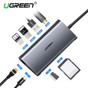 UGREEN 8 in 1 Type C Hub with 4K HDMI, SD/TF Card Reader, PD Charger Port, Gigabit Ethernet Port, 3 USB 3.0 Ports Type C 3.1 Multiport Adapter Dock Station Dark Grey