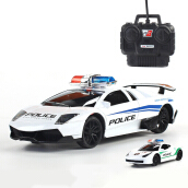 Jantens Electric Police RC cars Model 4 channels Remote Control Car Toys for boys Racing Car machines on the remote control 1:24 White