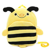 COZIME Cute Cartoon Kids Plush Backpack Toy Mini School Bag with Anti-lost Leash Yellow