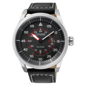 Citizen AW1360-04E Eco Drive Black Dial Black Leather Strap [AW1360-04E]