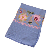 LAVEN idyllic hook flower cotton embroidered women's long scarf