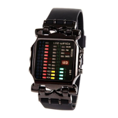 MMIOT New Unisex Square Style Cool Colorful LED Digital Watch Binary Wrist Black