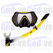 GODIVE Alat Selam Diving Snorkeling Mask & Snorkel Set M101+Box-Yellow - All Size