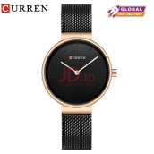 CURREN 9016 Women Watch New Quartz Top Brand Luxury Fashion Wristwatches Ladies Gift Black