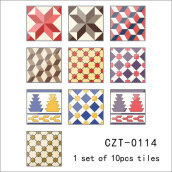 Scotland Style Square Self Adhesive Tile Stickers for Bathroom Multicolor 10PCS/Bag