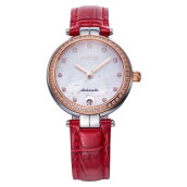 FIYTA LA869005.MWRD Ladies SIlver Dial Red Leather Strap [LA869005.MWRD]