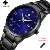 WWOOR Top Brand Luxury Watch Men Stainless Steel Waterproof Sports Watches Male Quartz Clock