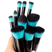 BL 10pcs Professional Makeup Brushes Eye Cosmetic Grooming Brush - Blue-One Size