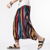 Zanzea Charmkpr Mens Ethnic Style Color Stripe Printed Cotton Ankle-Length Baggy Casual Pants