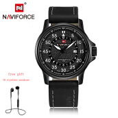 NAVIFORCE 9076 Men Watch Date Week Sport Watches Business Genuine Leather Quartz Male Clock  Black-White