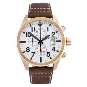 Citizen AN3623-02A Classic Chronograph Men White Dial Brown Leather Strap [AN3623-02A]