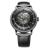 FIYTA Men 3D Time Automatic Black Leather + Nato Strap WGA868002.BBB [WGA868002.BBB]