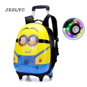 Jantens 2018 New  Kids School Bags With Wheel Trolley Luggage For Boys Girls Backpack
