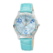 SKONE Women's Leather Strap Quartz Watch 9243