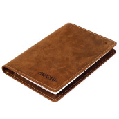 BestieLady Soft Genuine Leather Slim Passport Currency Wallet Brown
