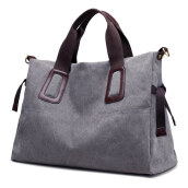 Jantens Canvas ladies handbag casual large capacity ladies handbag shoulder bag retro Messenger bag Grey