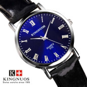 KINGNUOS brand new fashion business quartz men's watch leather waterproof men's watches Relogio Masculino