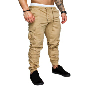 Fashionmall Mens Regular Fit Cuffed Chino Jogger Cotton Trousers